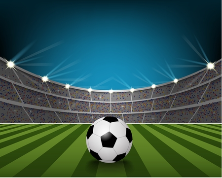 football stadium: Soccer ball on the field of stadium with light Stock Photo
