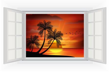 open window: Open window of Photo of sunset on sea