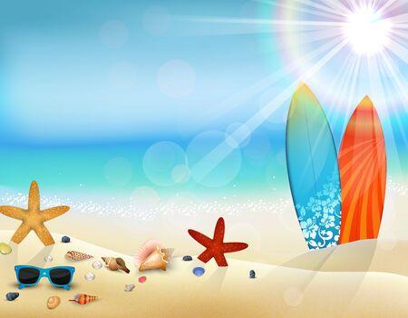 gafas de sol: Vacaciones en la playa en el verano con la tabla de surf