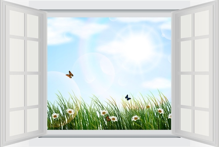 ventana abierta: Ventana abierta con flores y mariposas