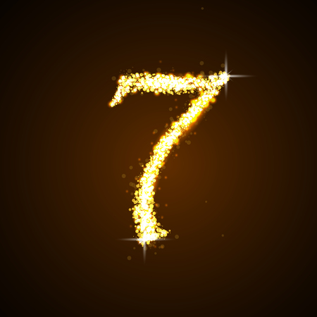 currency glitter: Number seven of gold glittering stars