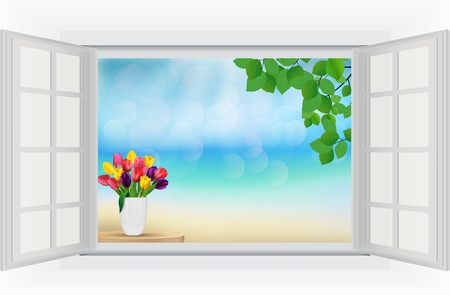Open window with tulip flowers and leaf in rainbow colours photo
