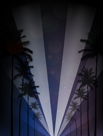 romantic getaway: Palm trees silhouettes reflection in the water against night sky