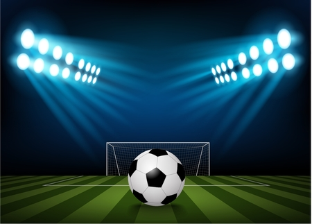 stadium: Football on the field of stadium with light