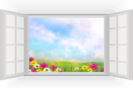 view window: Beautiful summer with flowers of opened window view