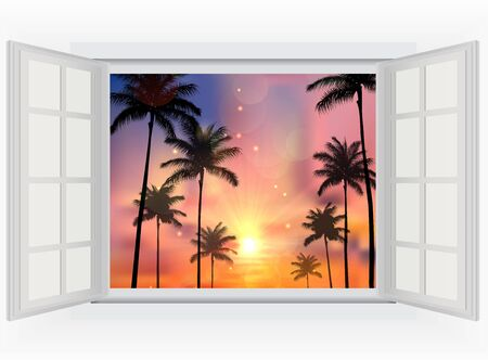 window view: Beautiful sunset with palm trees of opened window view