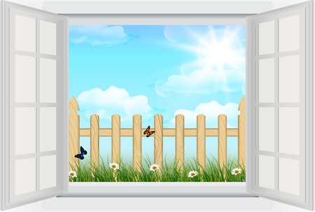 background  grass: Open window with Spring background grass and wooden fence