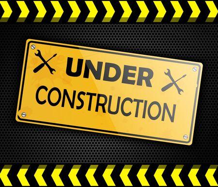 under construction sign: Under construction sign background black Stock Photo