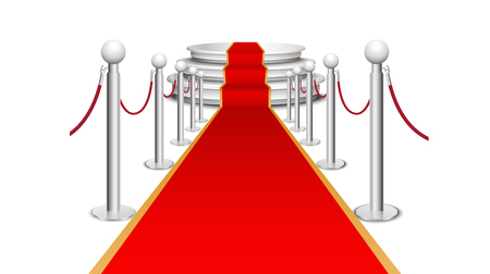 red shape: Red carpet on circular staircase