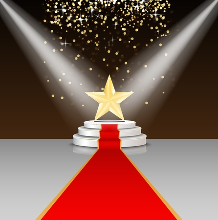 Stage podium with red carpet and star on brown background Stock Photo