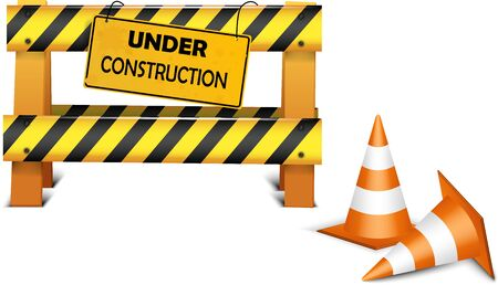 under construction symbol: Under construction barrier over white background