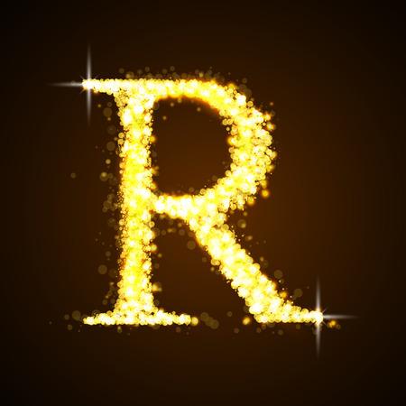 letras de oro: Alfabetos R de oro reluciente estrellas