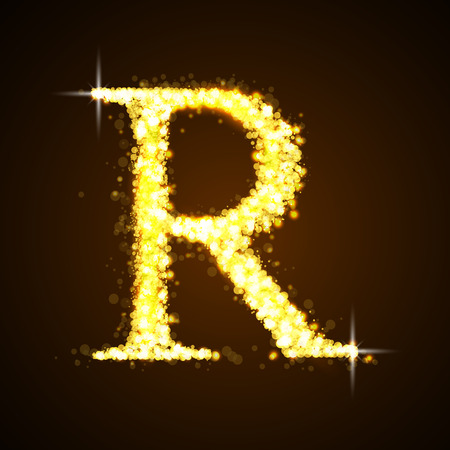 gold numbers: Alphabets R of gold glittering stars Illustration
