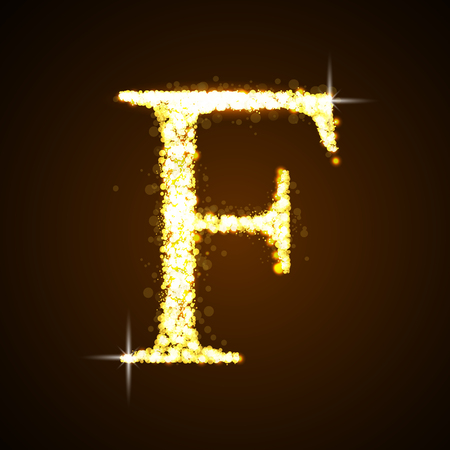 letter f: Alphabets F of gold glittering stars