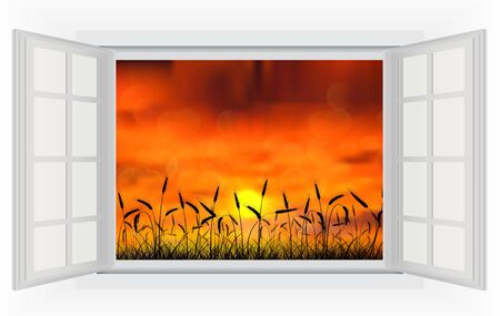 open window: Open window sunset in the reed on the nature Illustration