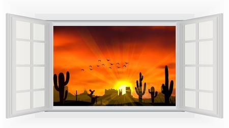 to open the window: Abra la ventana del �rbol de cactus cuando la puesta de sol Vectores