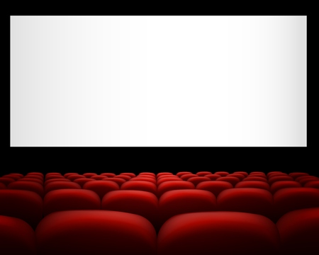 Illustration of a cinema with red upholstery Archivio Fotografico