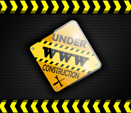 vector sign under construction: Under construction sign on background black. Vector