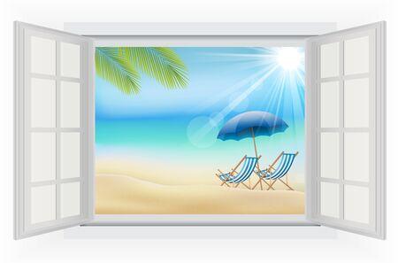 beach window: Open window in the Daytime with summer background on beach
