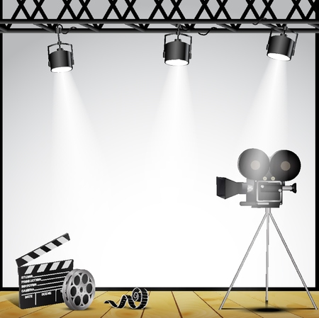 A vintage theater spotlight on a white background on the stage