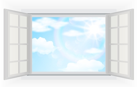 Open window with real bright sunlight clouds and blue sky