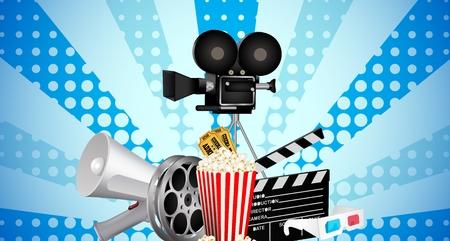 cinematograph: cinemat�grafo en pel�culas de cine y palomitas de ma�z Vectores