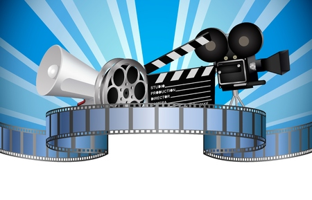 movie clapper: Cinema movie film and video media industry Illustration