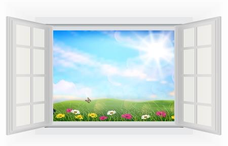 to open the window: Abrir ventana de verano hermosa con flores Foto de archivo