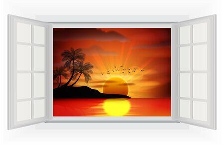 open sea: Open window of Photo of sunset on sea