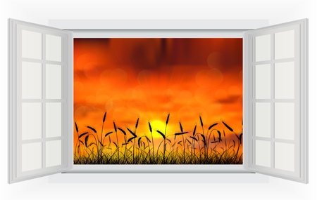 open window: Open window sunset in the reed on the nature Stock Photo