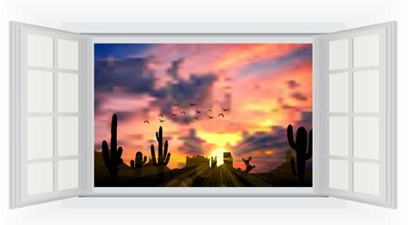 opens: Opens window in room with view of cactus tree when the sunset