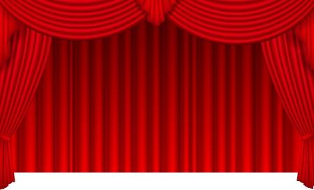 cortinas rojas: Cortina de seda roja con la luz del reflector Vectores