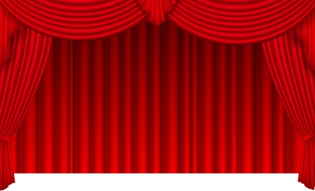 Red silk curtain with light from the searchlight Vector