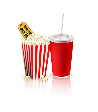 footage: Popcorn drink and tickets Illustration