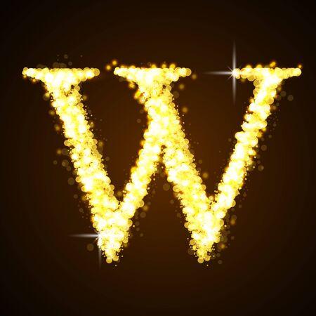 letter w: Alphabets W of gold glittering stars
