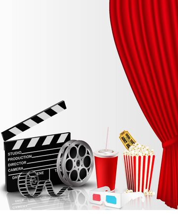 playbill: Red curtain and film object with popcorn Stock Photo