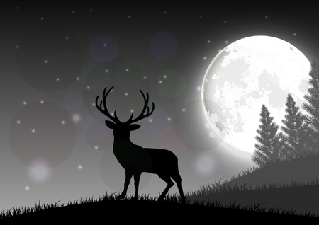 Silhouette of a deer standing on a hill at night with moon Illustration
