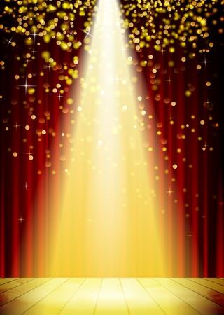 Etapa de iluminación de fondo con efectos de luz de spot