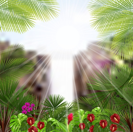 Beautiful tropical in the morning with a tree and flowers Vector
