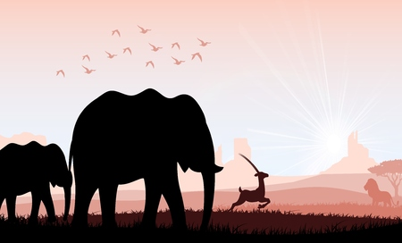 Elephant family with deer and birds. Vector Vector