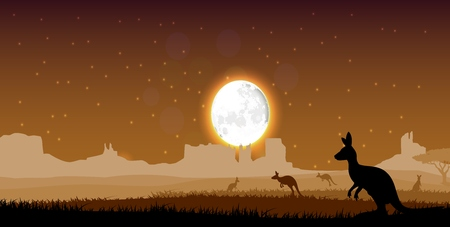 gum tree: Silhouette a kangaroo the feeding in the bright dusk. Vector Illustration