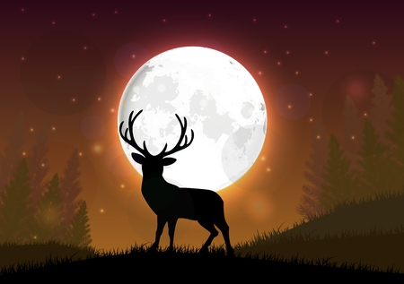the winter holidays: Silhouette of a deer standing on a hill at night