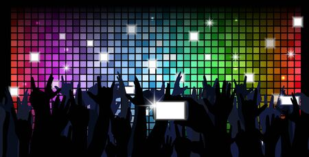 dancing: colorful crowd of party people silhouettes background Stock Photo