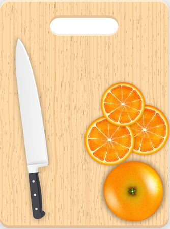 carotene: Orange slices and knife on the chopping board