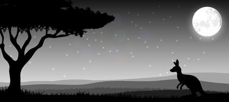 calm down: Silhouette a kangaroo the feeding in the bright night