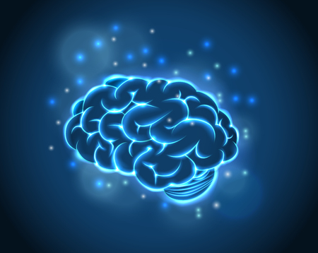 nerve fibers: Brain Concept of blue background