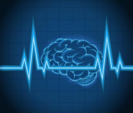 tętno: Procesów mózgowych fal pomysł koncepcja kreatywnych Ilustracja