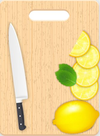 carotene: Lemon and leaf slices and knife on the chopping board