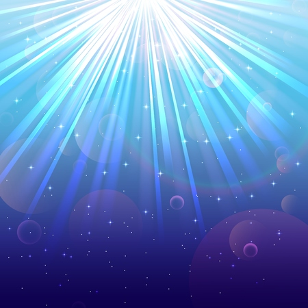 air bubbles: Blurred underwater background with rays of light blue sea and air bubbles