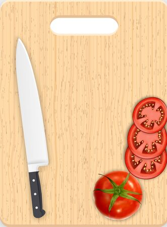 tomato slices: Red tomato slices and knife on the chopping board